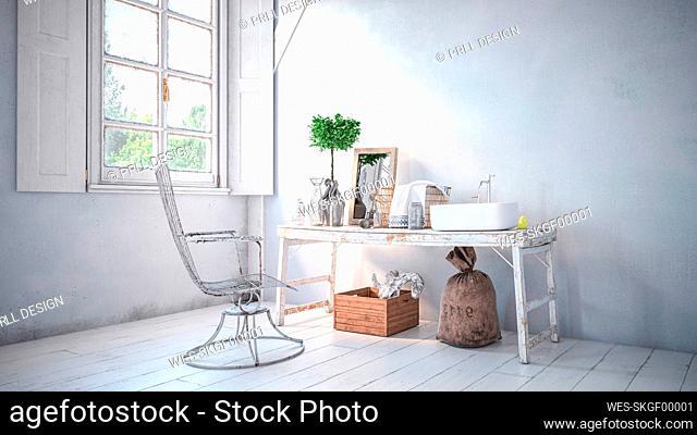 Three dimensional render of interior of rustic bathroom