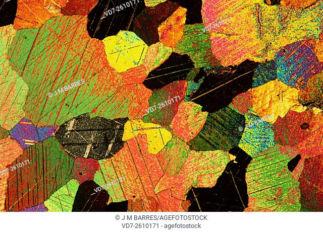 Marble micrograph X15, polarized light. Marble is a metamorphic rock composed of recrystallized calcite or dolomite minerals