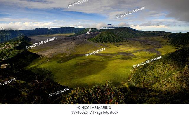 Active crater of Mount Bromo left, Mount Batok in front and behind it the Mount Semeru, Bromo Tengger Semeru National Park, Island of Java, Indonesia