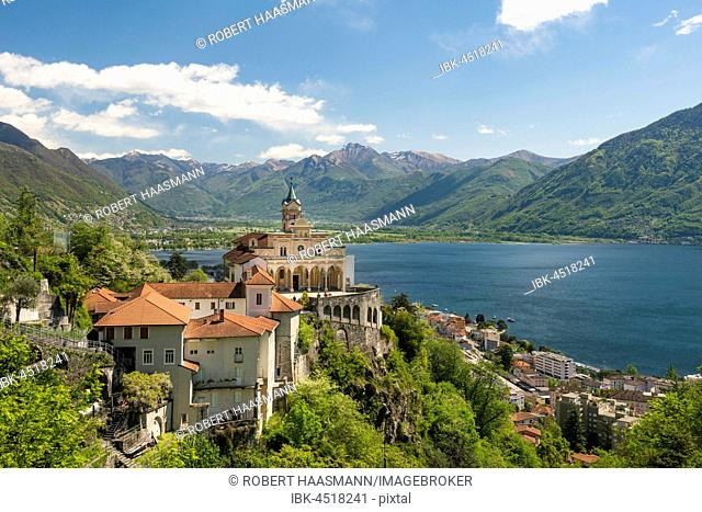 Pilgrimage church Madonna del Sasso, Lake Maggiore and mountains, Orselina, Locarno, Canton of Ticino, Switzerland