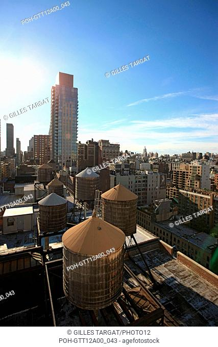 usa, etat de New York, New York City, Manhattan, Chelsea, buildings, reservoirs, depuis la terrasse de de l'hotel Four Points by Sheraton, 160W 25th
