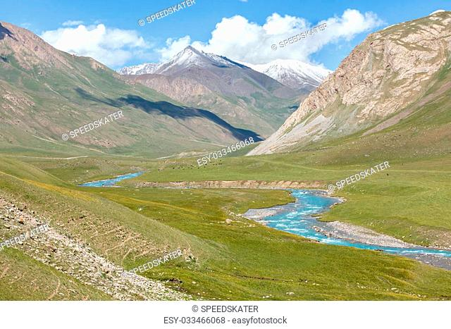 Blue river in mountains, Tien Shan, Kyrgyzstan