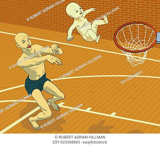 Concept illustration of a man trying to achieve his goals through his child by throwing his smiling baby at a basketball hoop