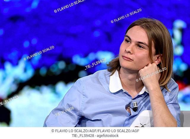 Giulio Pranno during the tv show Che tempo che fa, Milan, ITALY-20-10-2019