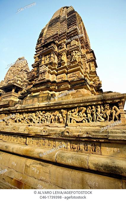 Erotic sculptures on Lakshmana Temple dedicated to Vishnu is built by chandella ruler Vasovarman Between 930-950 AD , Khajuraho, Madhya Pradesh, India, Asia