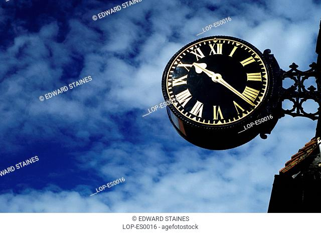 England, Buckinghamshire, West Wycombe, The clock at West Wycombe. West Wycombe village is owned by the National Trust