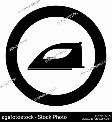 Iron icon black color in circle or round vector illustration