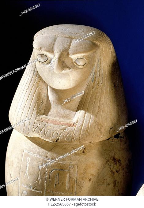 One of a set of four canopic jars used to preserve the internal organs of Prince Hornakht each in the form of one of the Four Sons of Horus