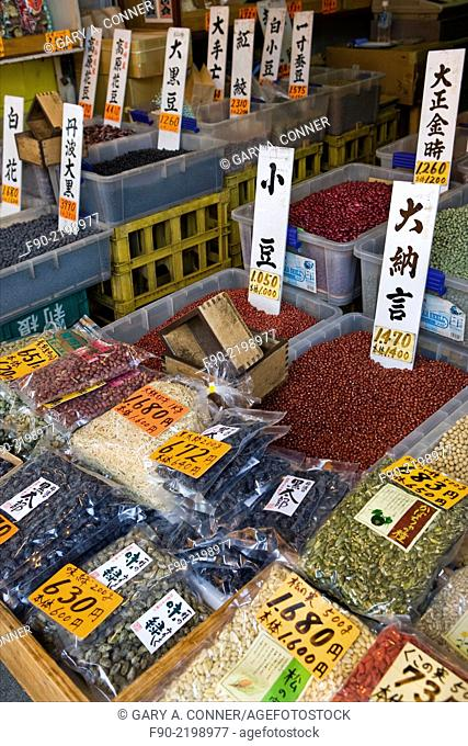 Shop specializes in beans at Tsukiji Fish Market in Tokyo, Japan