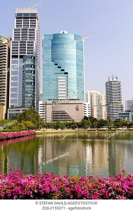 Modern Highrise Buildings on Banjakitti Park in Bangkok, Thailand