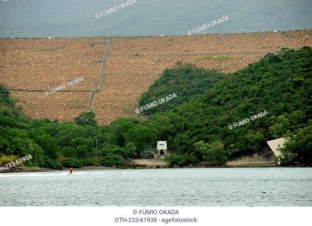 Overlooking the High Island Reservoir east dam, offshore, Hong Kong