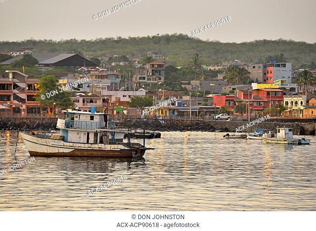 Harbourfront and fishing boats, Puerto Baquerizo Moreno, San Cristobal Island, Ecuador