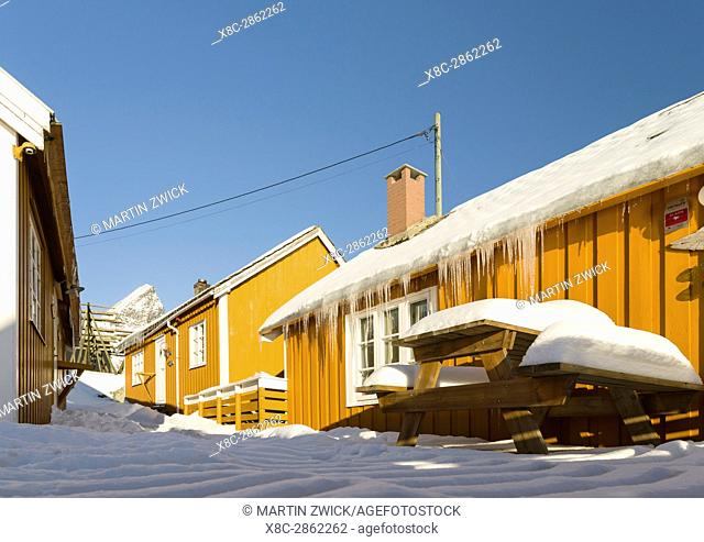 Rorbu, traditial fishing huts, now used as hotel, in the village Skrisoya on the island Moskenesoya. The Lofoten Islands in northern Norway during winter