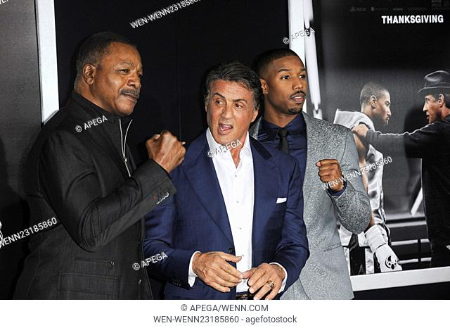 World premiere of 'Creed' at the Regency Village Theatre - Arrivals Featuring: Carl Weathers, Sylvester Stallone, Michael B