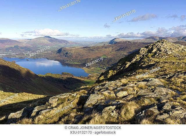 Derwent Water from Blea Crag on Maiden Moor in the Lake District National Park, Cumbria, England