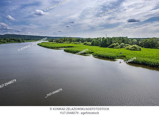 View on Brynecki Ostrow island and Regalica - east arm of Oder river, Szczecin in Poland