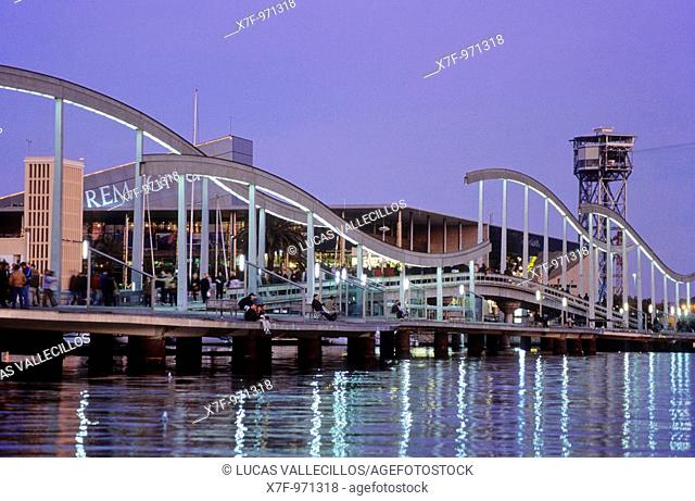 Barcelona: Rambla de Mar and Maremagnum  shopping mall in harbour of barcelona
