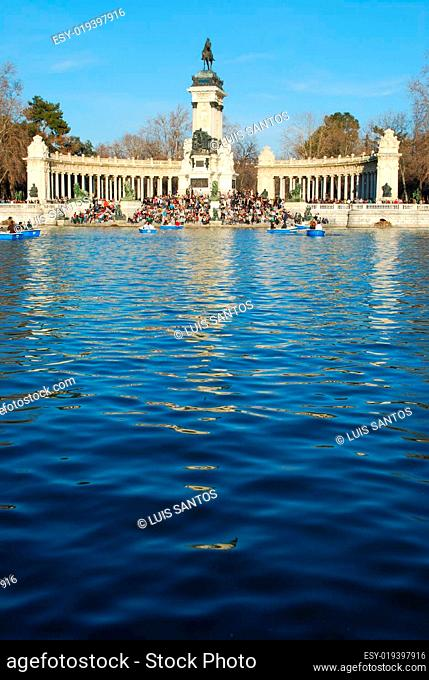 Retiro Park on Madrid, Spain