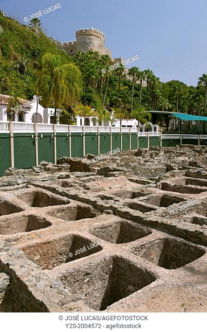 Fish salting factory Punic-Roman and castle of San Miguel, Almuñecar, Granada-province, Spain, Europe