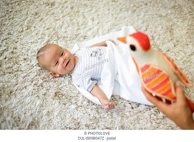 Happy baby boy looking at toy bird