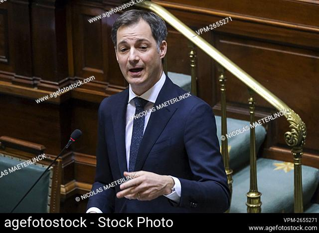 Prime Minister Alexander De Croo pictured during a plenary session of the chamber at the federal parliament in Brussels, Thursday 04 March 2021