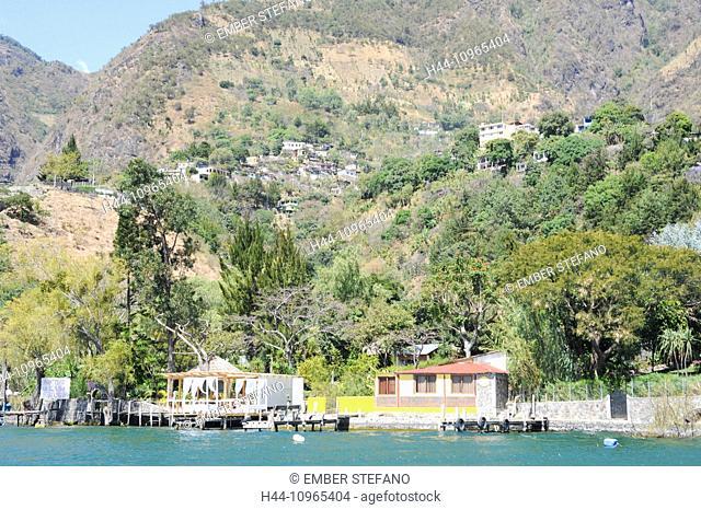 Guatemala, Central America, San Jorge, America, Atitlan, central, highlands, houses, la Laguna, lake, mountain, village