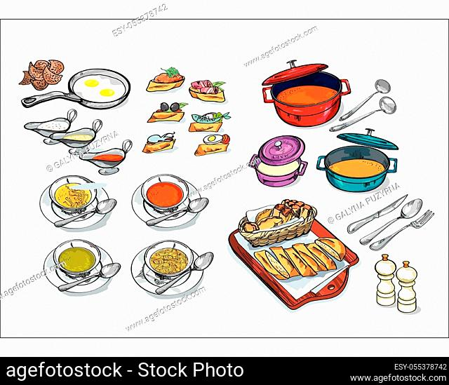 Crockery and dishes, skewers and snacks hand drawn set