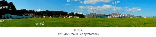Crissy Field and Golden Gate bridge panorama, San Francisco, California