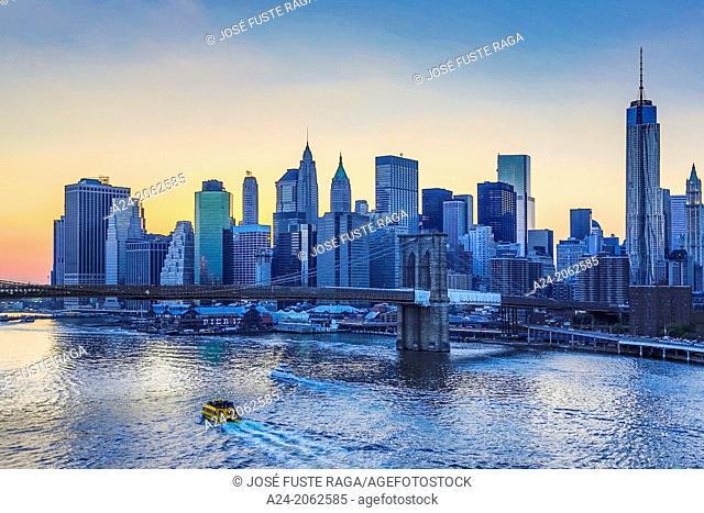 USA , New York City, Downtown Skyline at sunset