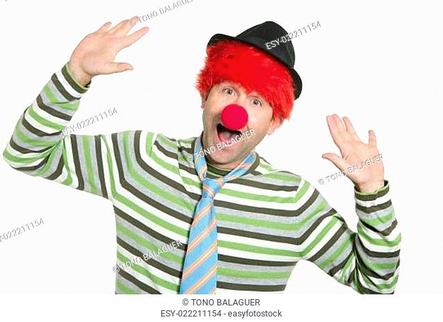 Clown redhead wig happy funny gesture