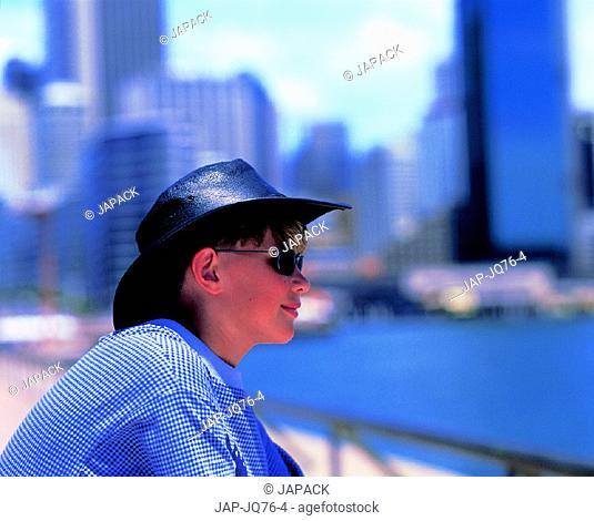 Boy overlooking Sydney, Australia