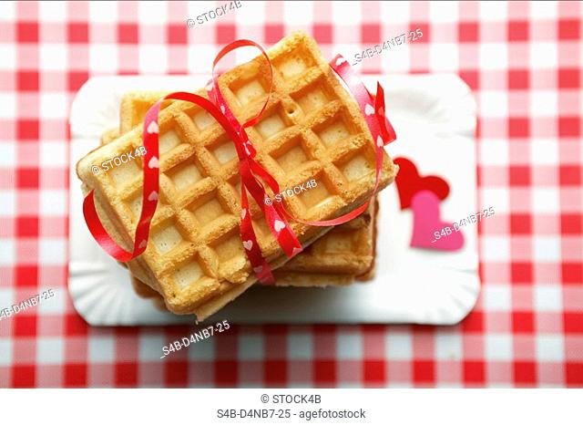 Stacked waffles, directly above