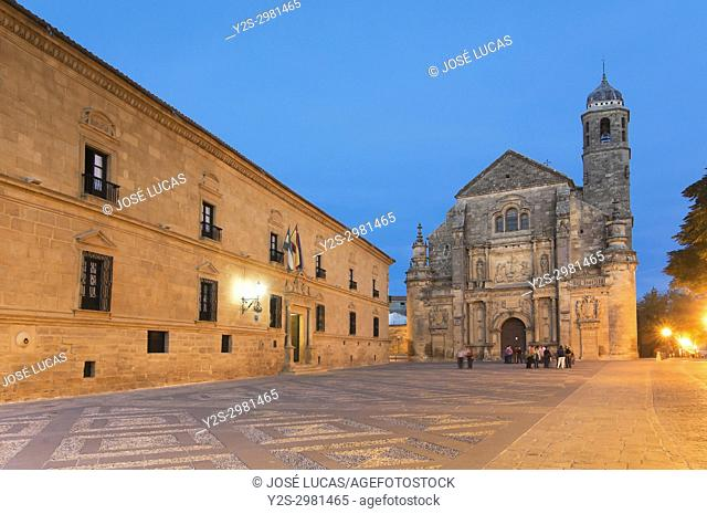 Church of El Salvador and the palace of Dean Ortega (Parador - Hotel) in the Plaza Vazquez de Molina - 16th century, Ubeda, Jaen province, Region of Andalusia