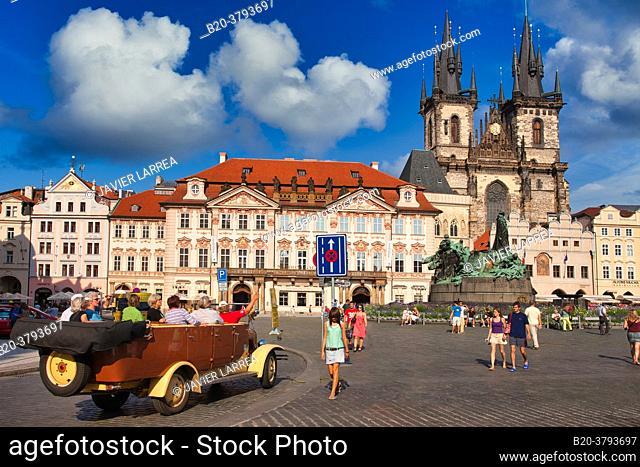 Tyn church in Staromestske Namesti (Old Town Square), Prague, Czech Republic, Europe