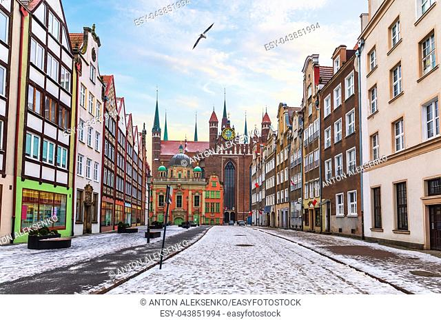 Medieval street of Gdansk near the St Mary's Church, Poland, no people