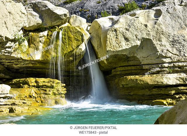 small waterfall of the river Méouge, Gorges de la Méouge, Provence, France, near Serre, valley de Buëch