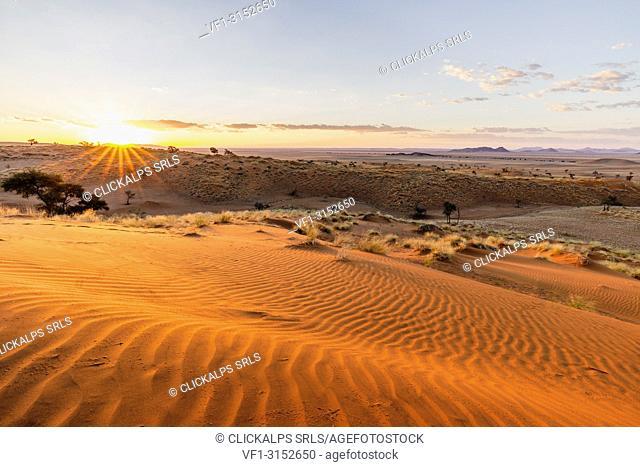 Sunset over the rippling red dunes of the world's oldest desert, Namib Naukluft National Park, Namibia, Africa