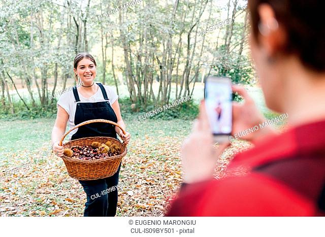 Women taking photo of chestnut collecting, Rezzago, Lombardy, Italy