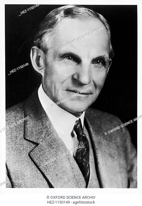 Henry Ford, American automobile engineer and manufacturer, 1908. In 1903, Henry Ford founded the Ford Motor Company. He pioneered modern 'assembly line' mass...