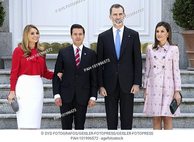 King Felipe VI. From Spain and Queen Letizia of Spain received President Enrique Pena Nieto with wife Angelica Rivera de Pena at the Palacio de la Zarzuela