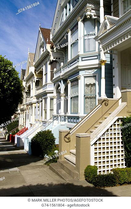 Victorian Homes on Steiner Street from Alamo Square, San Francisco, California, USA