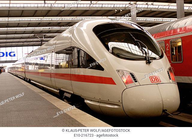 ICE Train, main railway station. Munich. Germany