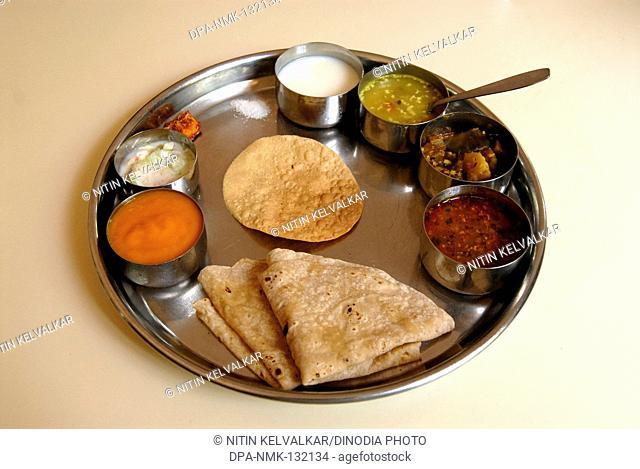 Limited Maharashtrian Vegetarian Thali for Lunch at Hotel , Ganapatipule , Pilgrimage centre , Konkan coast Ratnagiri