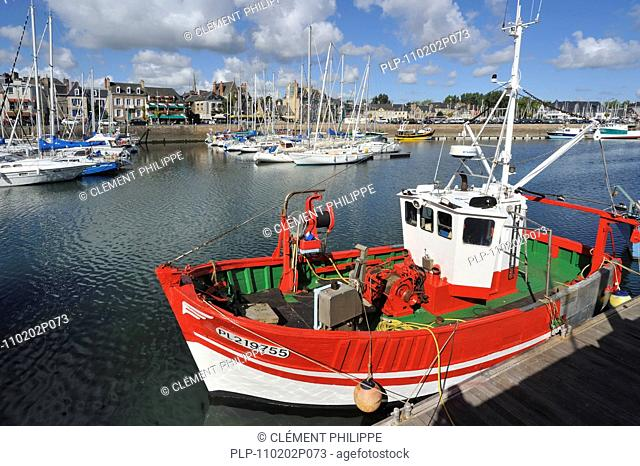 Colorful fishing boats in the harbour of Paimpol, Côtes-d'Armor, Brittany, France