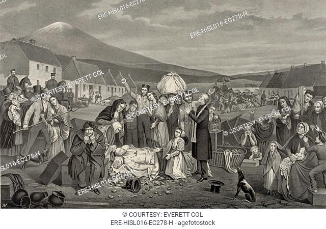 THE EVICTION: A SCENE FROM LIFE IN IRELAND. 1871 American print shows a community of tenant farmers with their belongings being forcibly evicted from their...