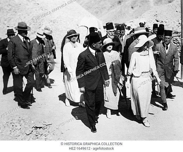 Distinguished visitors to the Tomb of Tutankhamun, Valley of the Kings, Egypt, 1923. The Queen of the Belgians (centre, leading)