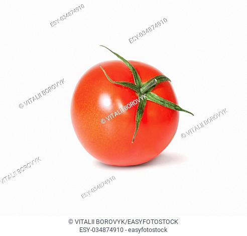 Single Fresh Red Tomato With Green Stem Rotated Isolated On White Background