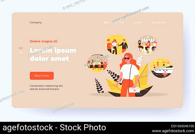 Girl enjoying happy memories. Young woman planning her vacation. Flat vector illustration. Life memory, holiday, leisure time concept for banner