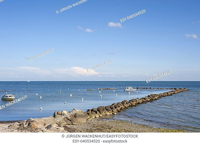 Natural harbor at the Wulfener Hals, Wulfen, Fehmarn, Baltic Sea, Schleswig-Holstein, Germany, Europe