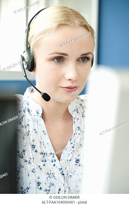 Operator wearing headset at work